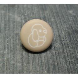 Bouton chien peluche sable 13 mm
