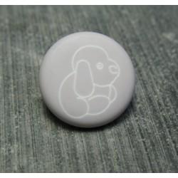 Bouton chien peluche gris bleu 15 mm