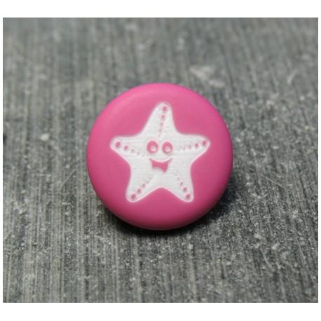 Bouton étoile de mer smile fuschia 13 mm