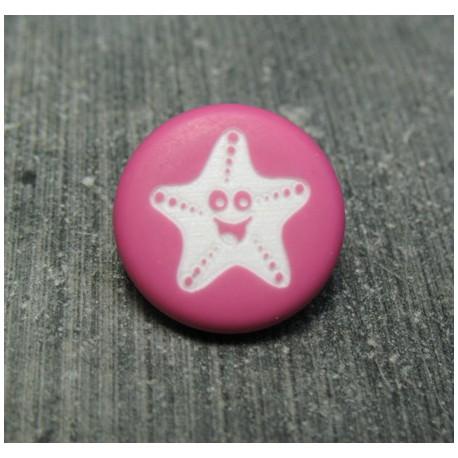 Bouton étoile de mer smile fuschia 15 mm