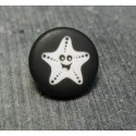 Bouton étoile de mer smile noir 15 mm