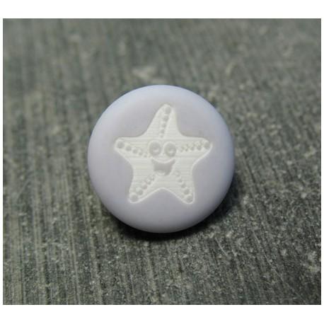 Bouton étoile de mer smile gris bleu 13 mm