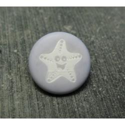 Bouton étoile de mer smile gris bleu 15 mm