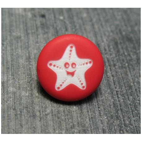 Bouton étoile de mer smile rouge 13 mm
