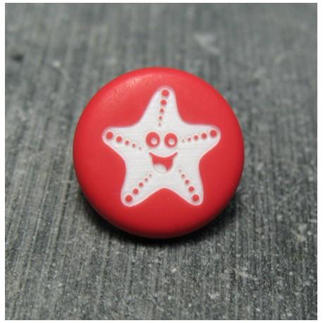 Bouton étoile de mer smile rouge 15 mm