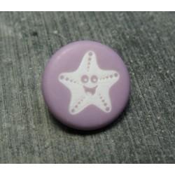 Bouton étoile de mer smile violine 15 mm