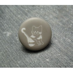 Bouton chat beige 15 mm