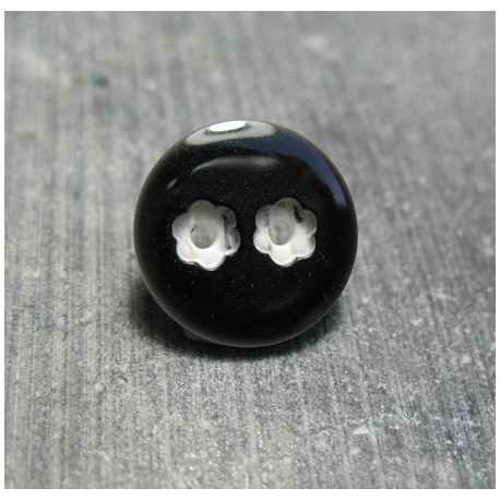 Bouton 2 trous fleur noir 15 mm