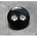 Bouton 2 trous fleur noir 18 mm