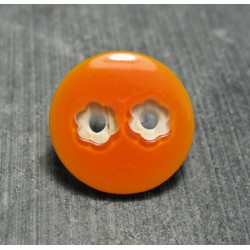 Bouton 2 trous fleur orange 18 mm