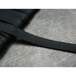 Biais plié coton noir 7 mm