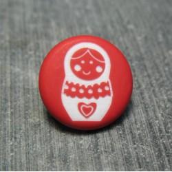 Bouton poupée russe rouge 15 mm