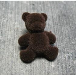 Bouton ours floqué velours brun 24 mm