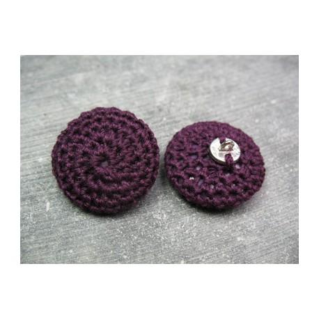Bouton laine violette 27 mm