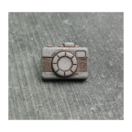 Bouton appareil photo gris clair 16 mm