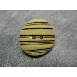 Bouton strié oval savane 22 mm