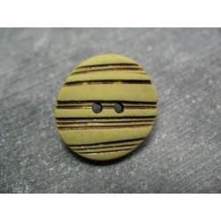 Bouton strié oval savane 22mm