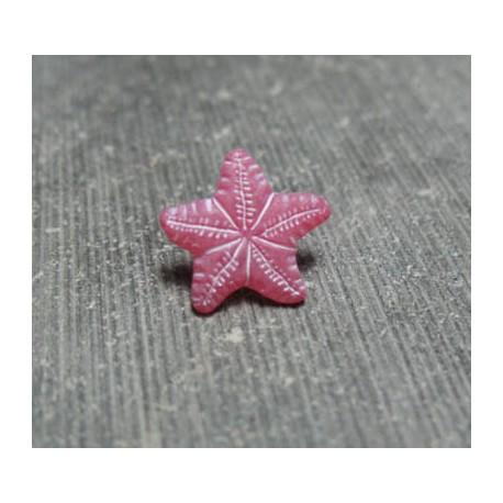 Bouton étoile de mer rose 12 mm