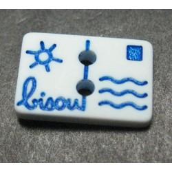 Bouton carte postale bisou blanc bleu 13 mm b14