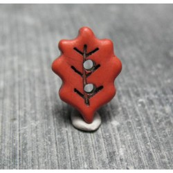 Bouton feuille de chêne rouille noir 18 mm