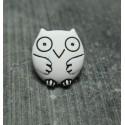 Bouton chouette blanc noir 15 mm