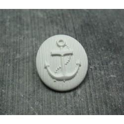 Bouton ancre oval blanc cassé 25 mm