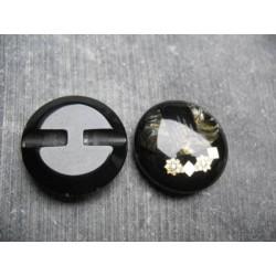 Bouton trésor 15 noir inclusion vison 27 mm