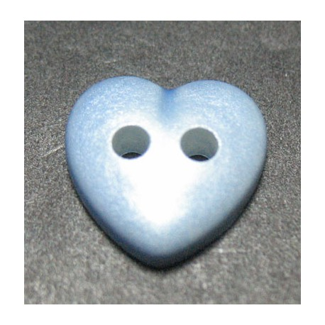 Bouton coeur bleu nacre 11 mm b14