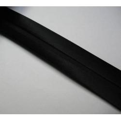 Biais plié satin noir 12 mm