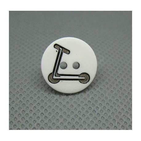 Bouton trotinette blanche noire 15 mm