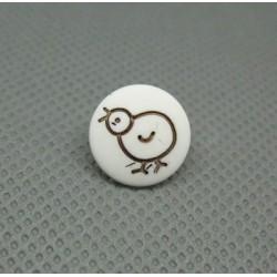 Bouton poussin blanc noir 12mm