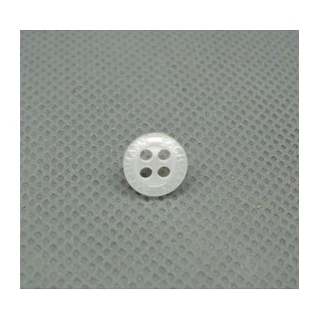 Bouton chemise blanc gravé 9 mm