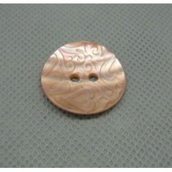 Bouton nacre gravé coeur rose 22mm