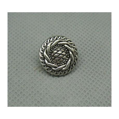 Bouton couronné vieil argent 15 mm