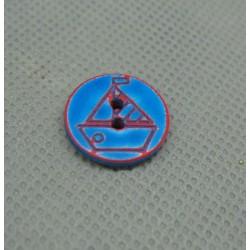 Bouton voilier bleu rouge délavé 15 mm