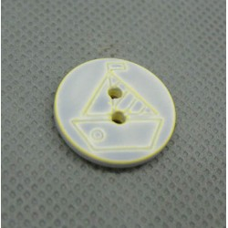 Bouton voilier gris jaune délavé 18 mm