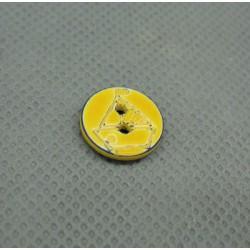Bouton voilier jaune marine délavé 12 mm