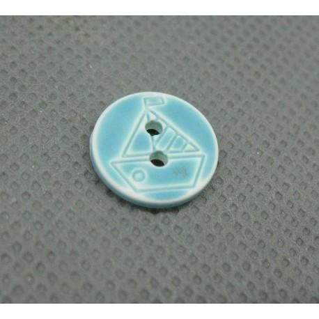 Bouton voilier turquoise blanc délavé 12 mm