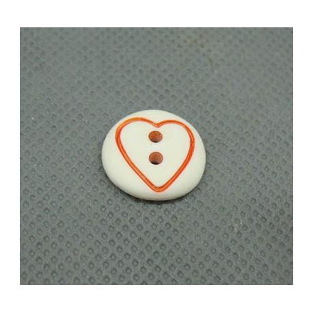 Bouton coeur orange base blanche 15mm