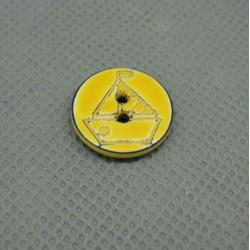Bouton voilier jaune marine délavé 15 mm