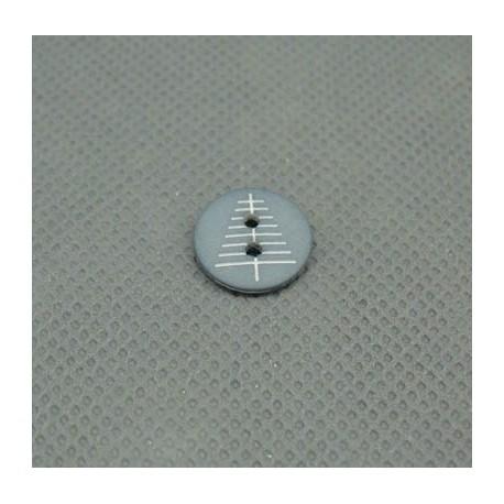 Bouton sapin gris blanc 12mm