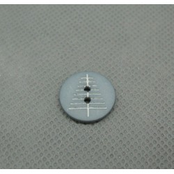 Bouton sapin gris blanc 15mm