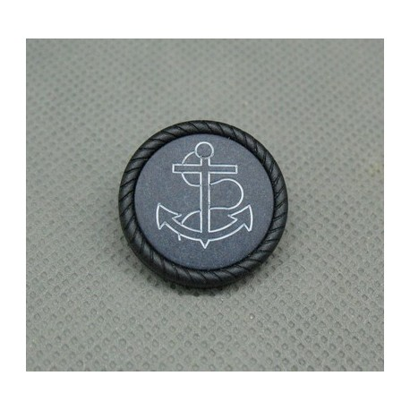 Bouton ancre noir marine 22mm