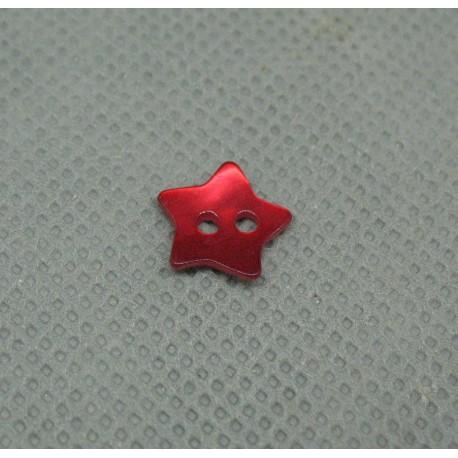 Bouton nacre étoile rouge 10mm