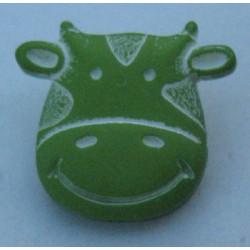 Bouton vache vert anis 15mm