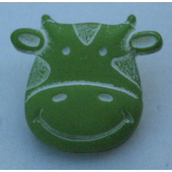Bouton vache vert anis 17 mm b8