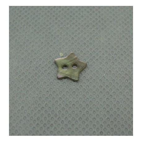 Bouton nacre étoile marron 10mm