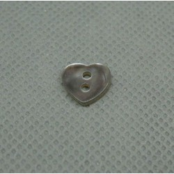 Bouton nacre coeur marron 10mm
