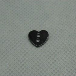 Bouton nacre coeur noir 10mm