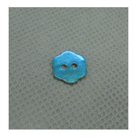 Bouton nacre fleur turquoise 10mm